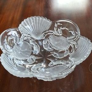 COPY - Mikasa Sea Fare Crabs/Shell Glass Bowl Dish